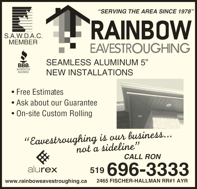 Rainbow Eavestroughing Corp Ayr On 2465 Fischer
