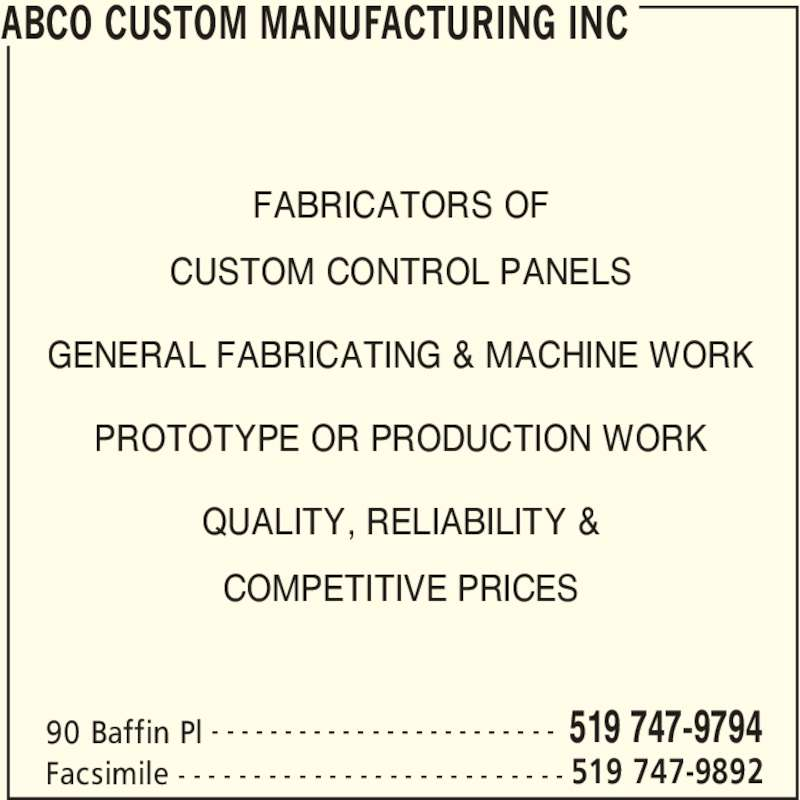 Abco custom manufacturing inc waterloo on 90 baffin for Abco salon supplies