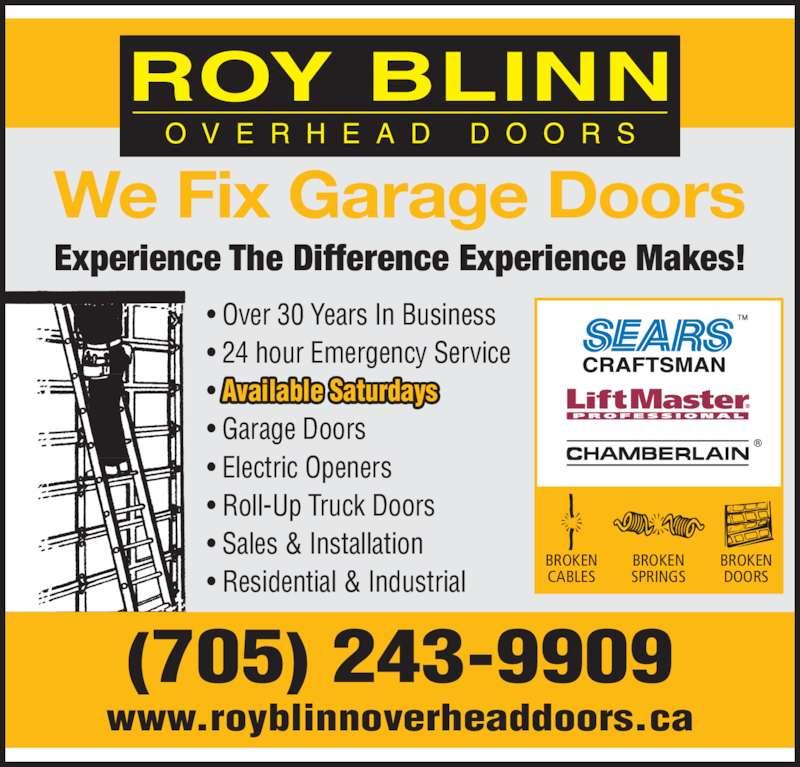 Roy blinn overhead doors bridgenorth on 525 kengary for 24 hour tanning salon near me