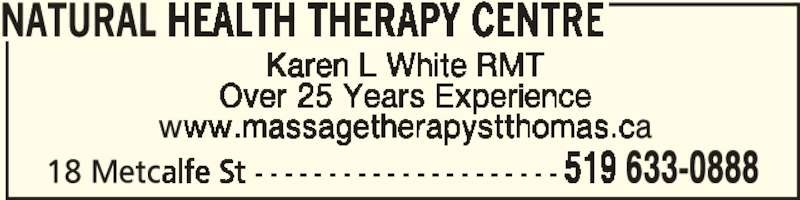 Natural Health Therapy Centre (519-633-0888) - Display Ad -
