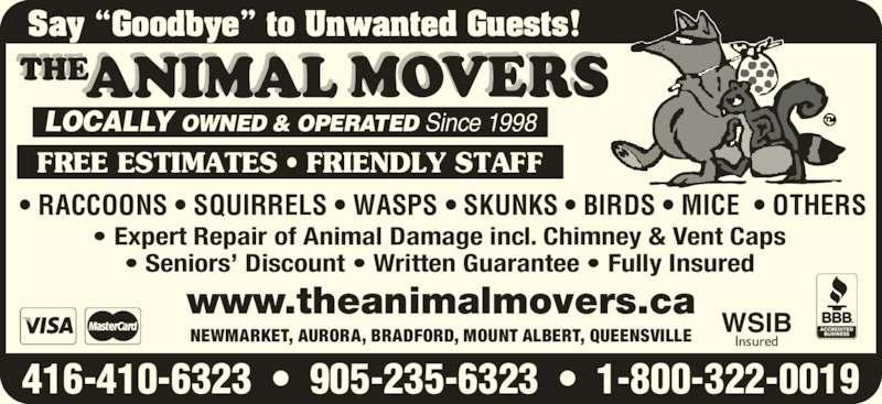 The Animal Movers (416-410-6323) - Annonce illustrée======= -