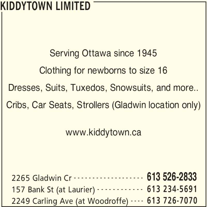Kiddytown Ltd (613-733-7443) - Annonce illustrée======= -