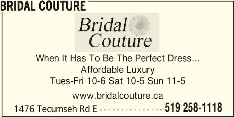 Bridal Couture Windsor On 1476 Tecumseh Rd E Canpages