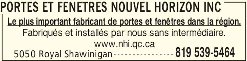 Nouvel horizon portes fen tres inc shawinigan qc for Fenetre nouvel horizon