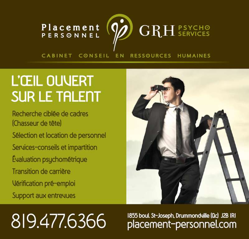 Placement Personnel GRH Psycho Services (819-477-6366) - Annonce illustrée======= -