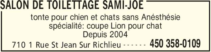 Salon de toilettage sami joe saint jean sur richelieu for Salon de toilettage montreal