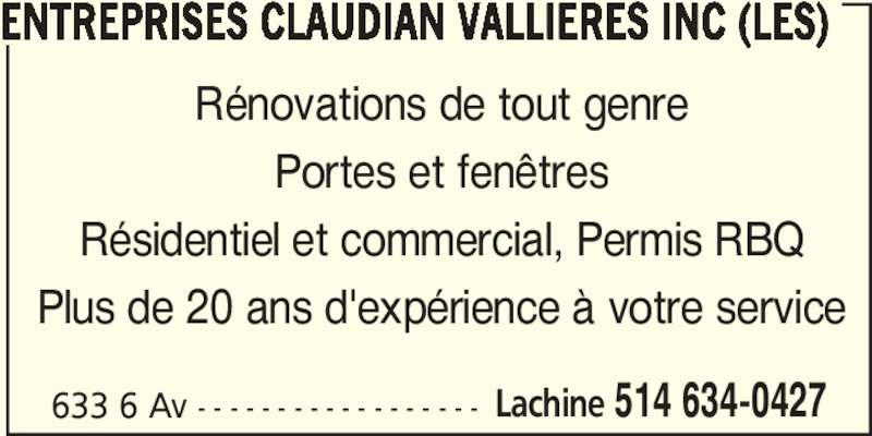 Entreprises claudian valli res inc les lachine qc for Salon de coiffure lachine