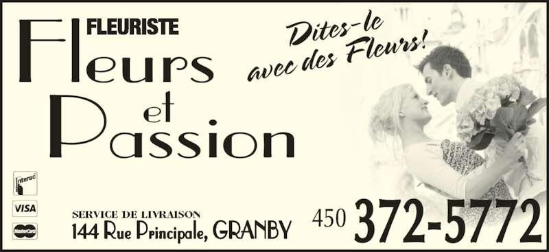 Fleuriste Fleurs et Passion (450-372-5772) - Annonce illustrée======= - 144 Rue Principale, GRANBY et Fleurs Passion FLEURISTE 450 372-5772