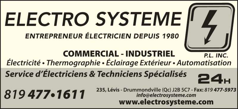 Electro-Système P L Inc (819-477-1611) - Annonce illustrée======= -