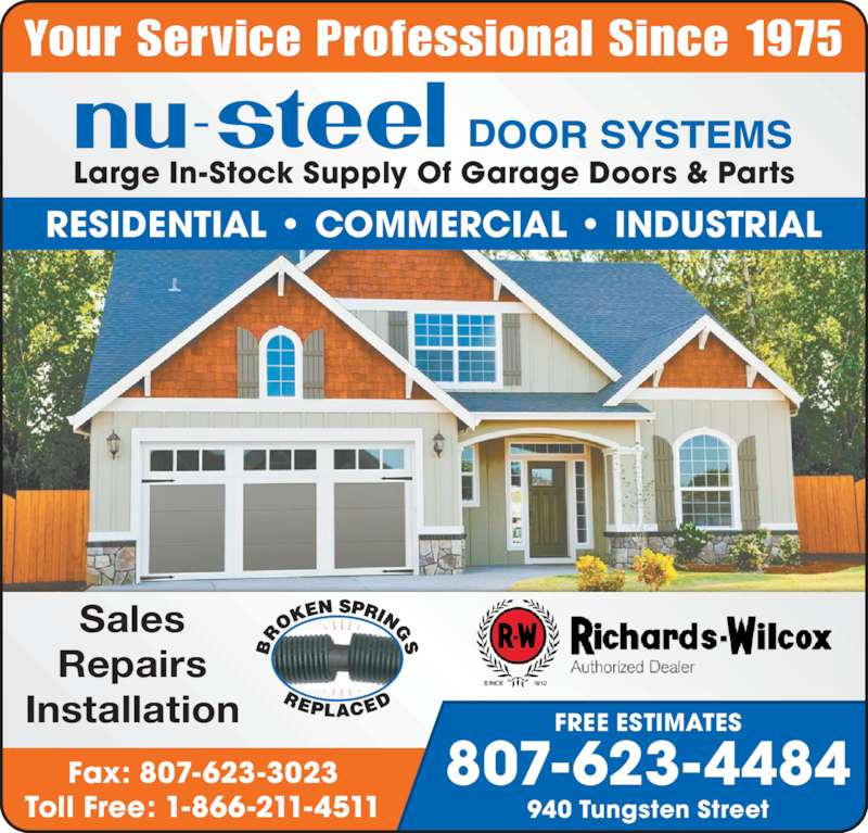 Nu steel door systems opening hours 940 tungsten st for Garage ad st coulomb
