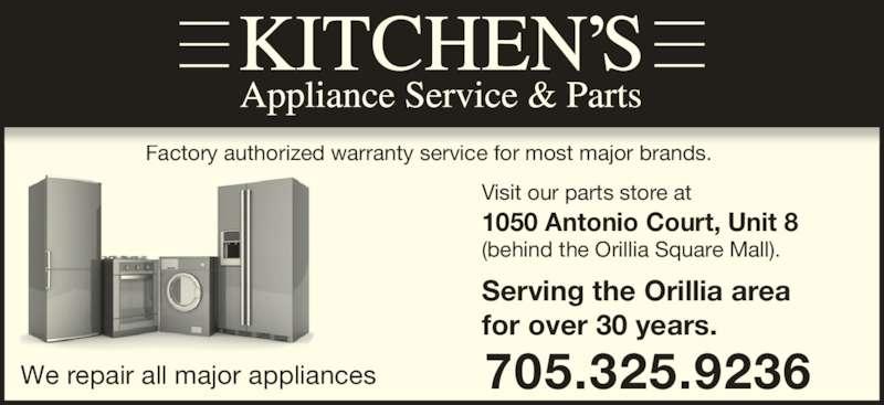 Kitchen 39 s appliance service orillia on 1050 antonio - Kitchen appliance services ...