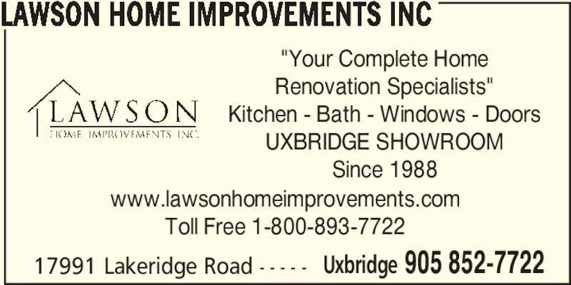 Lawson Home Improvements Inc Uxbridge On 17991 Lake