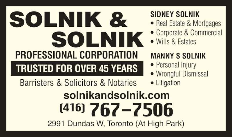 ad Solnik & Solnik Professional Corporation