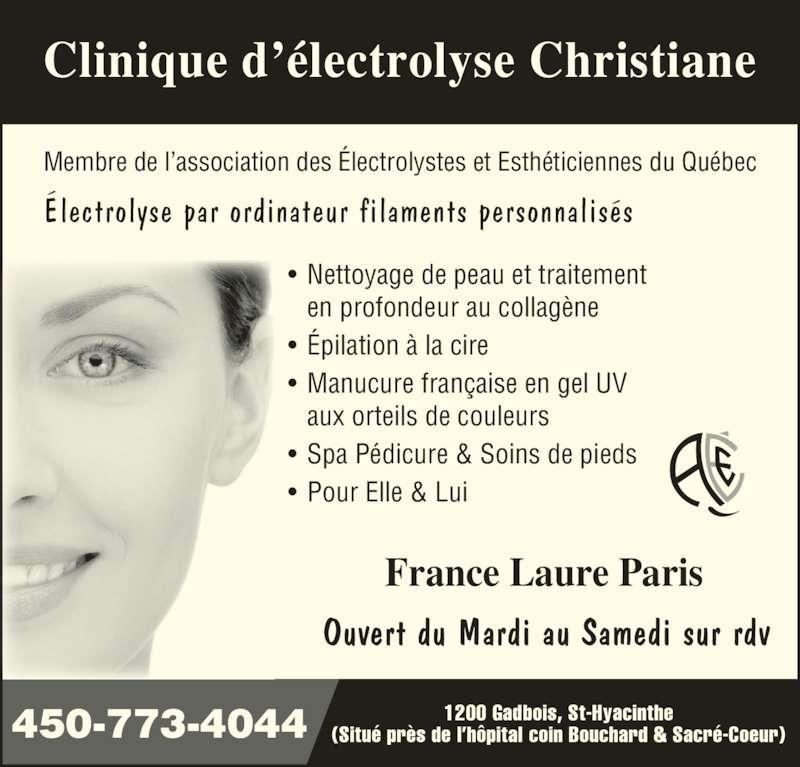 Clinique d 39 electrolyse christiane saint hyacinthe qc for Chambre de commerce francaise toronto