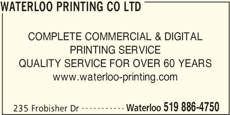 waterloo printing co ltd 519 886 4750 display ad waterloo