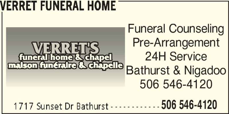 Verret 39 S Funeral Home Chapel Bathurst Nb 1717