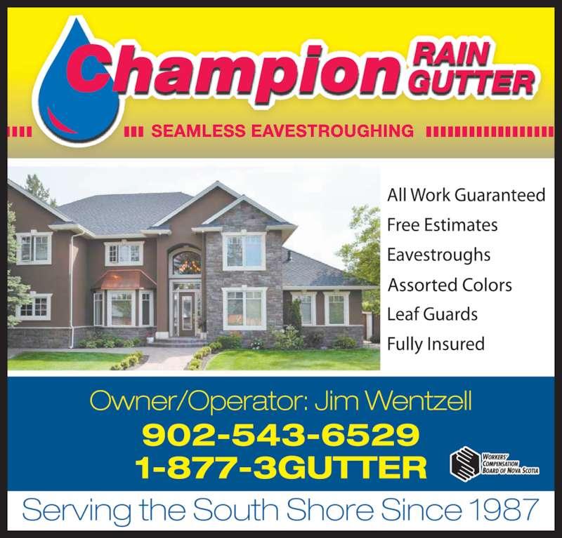 Champion Rain Gutter (902-543-6529) - Display Ad -