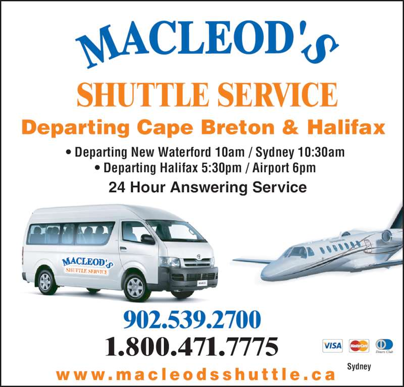 Macleod 39 s shuttle service sydney ns 27 ryan st canpages for 24 hour tanning salon near me