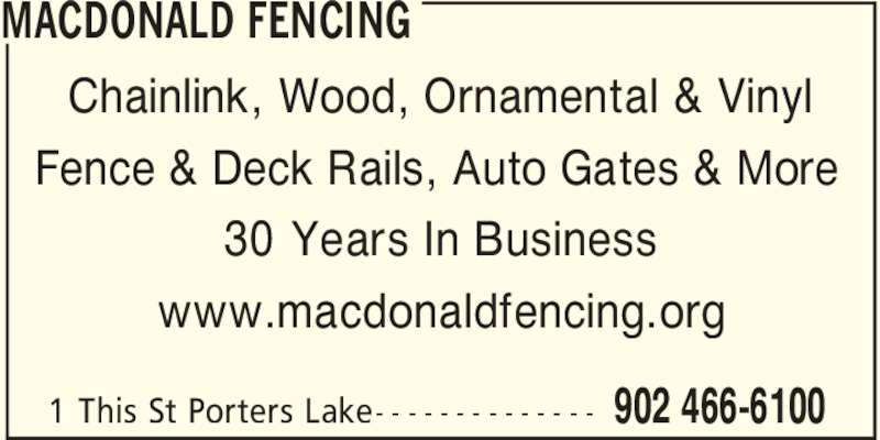 Macdonald Fencing A Division Of Bevlo Products Canpages
