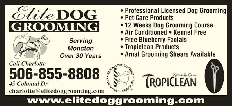 Elite Dog Grooming (506-855-8808) - Display Ad - 45 Colonial Dr 506-855-8808 Call Charlotte DOG GROOMING • Professional Licensed Dog Grooming • Pet Care Products • 12 Weeks Dog Grooming Course • Air Conditioned • Kennel Free • Free Blueberry Facials • Tropiclean Products • Arnaf Grooming Shears Available Serving Moncton Over 30 Years www.elitedoggrooming.com
