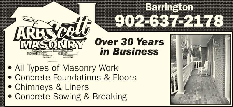 A R B Scott Masonry Ltd Barrington Ns 276 River Rd