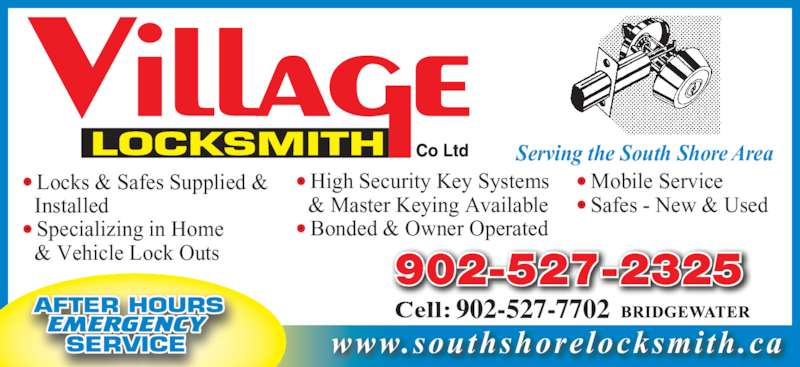 Village Locksmith Oakhill Ns 2190 Hwy 325 Canpages