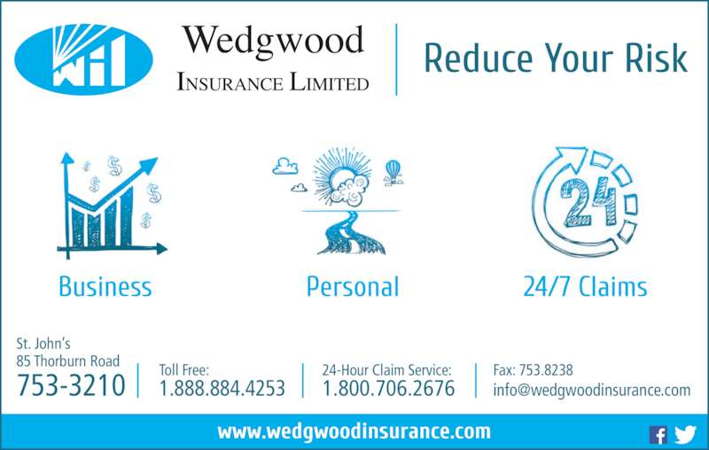 Wedgwood Insurance (709-753-3210) - Display Ad - St. John's 85 Thorburn Road 753-3210 Toll Free: 1.888.884.4253 24-Hour Claim Service: 1.800.706.2676 Fax: 753.8238