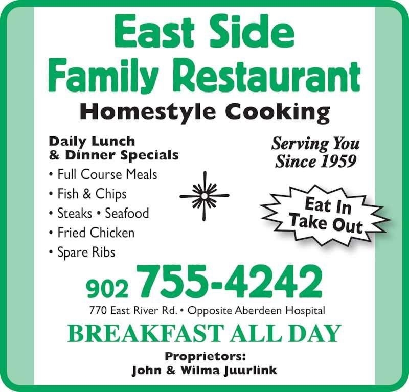 East side family restaurant new glasgow ns 770 east for Eastside fish fry menu