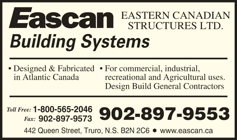 Eascan Building Systems (1-800-565-2046) - Display Ad - 902-897-9553902-897-9573