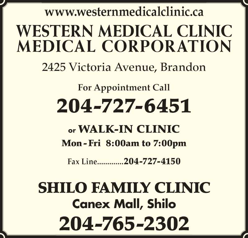 Western Medical Clinic Medical Corporation Brandon Mb