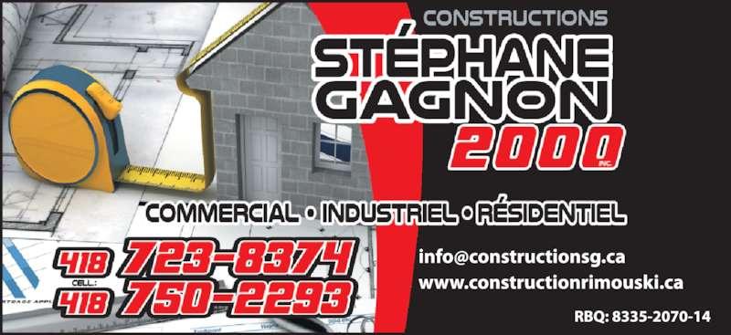 Constructions Stéphane Gagnon 2000 Inc (4187238374) - Annonce illustrée======= -