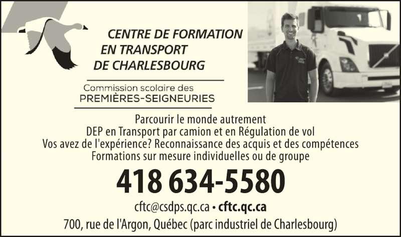 Centre de formation en transport de Charlesbourg (418-634-5580) - Annonce illustrée======= -