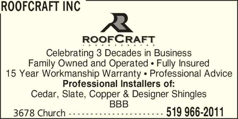 Roofcraft Inc 3678 Church St Windsor On
