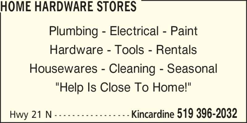 Kincardine Home Hardware Kincardine On 1770 Hwy 21 N Canpages
