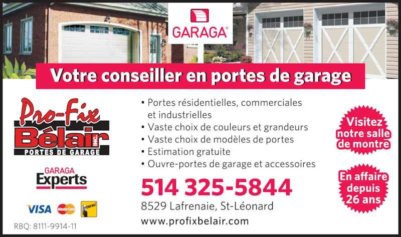 A & R Portes de Garage inc (514-643-1823) - Annonce illustrée======= -
