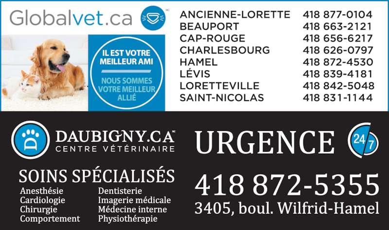 Centre Vétérinaire Daubigny (418-872-5355) - Annonce illustrée======= - NOUS SOMMES IL EST VOTRE MEILLEUR AMI VOTRE MEILLEUR ALLI?