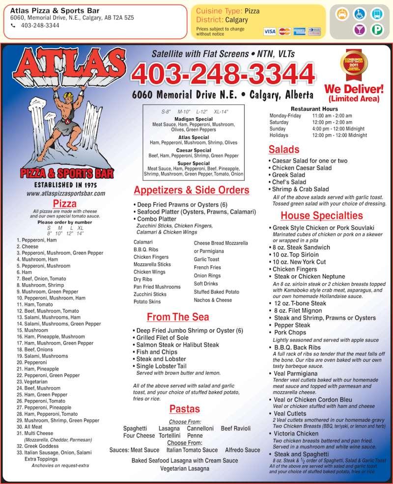 menu Atlas Pizza & Sports Bar