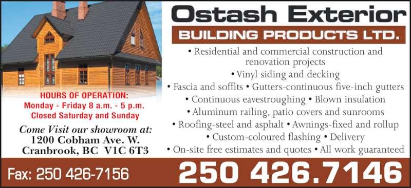 Ostash Exterior Building Products Cranbrook Bc 1200