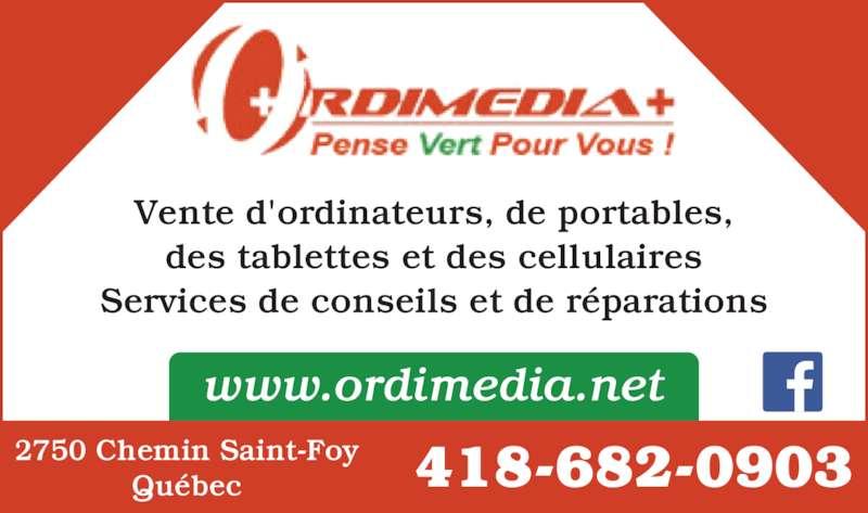 Ordimedia Plus (418-682-0903) - Annonce illustrée======= - 418-682-09032750 Chemin Saint-FoyQu?bec www.ordimedia.net Vente d'ordinateurs, de portables, des tablettes et des cellulaires Services de conseils et de r?parations