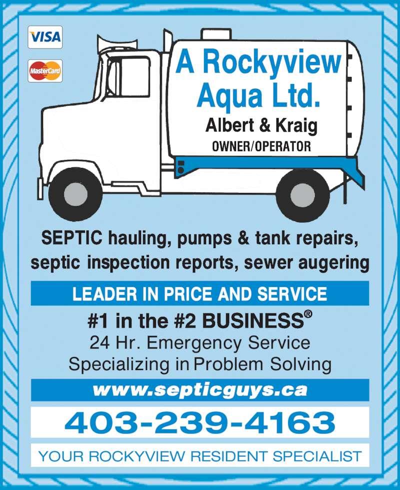 A Rockyview Aqua Ltd (403-239-4163) - Display Ad - 403-239-4163 YOUR ROCKYVIEW RESIDENT SPECIALIST