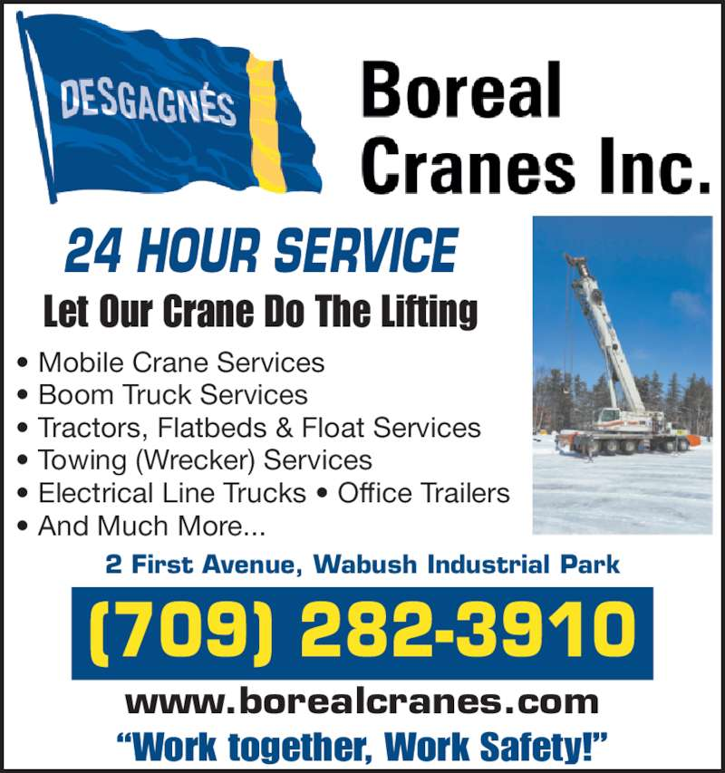 Boreal cranes inc wabush nl 2 first ave canpages for 24 hour tanning salon near me
