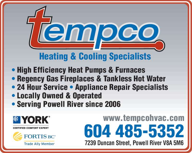 Tempco Heating Amp Cooling Specialists Powell River Bc