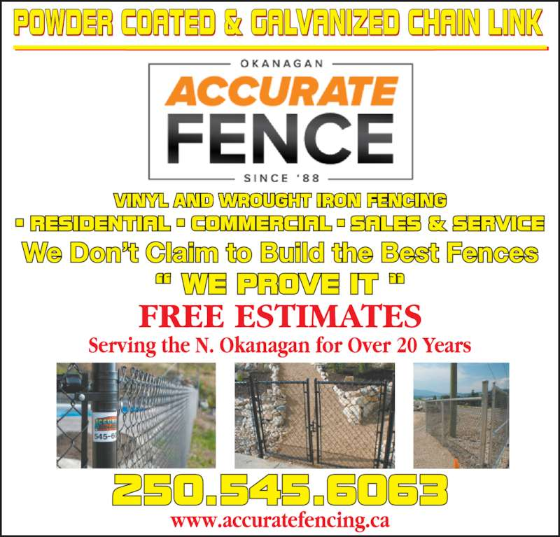 Accurate Fence Ltd (250-545-6063) - Display Ad -