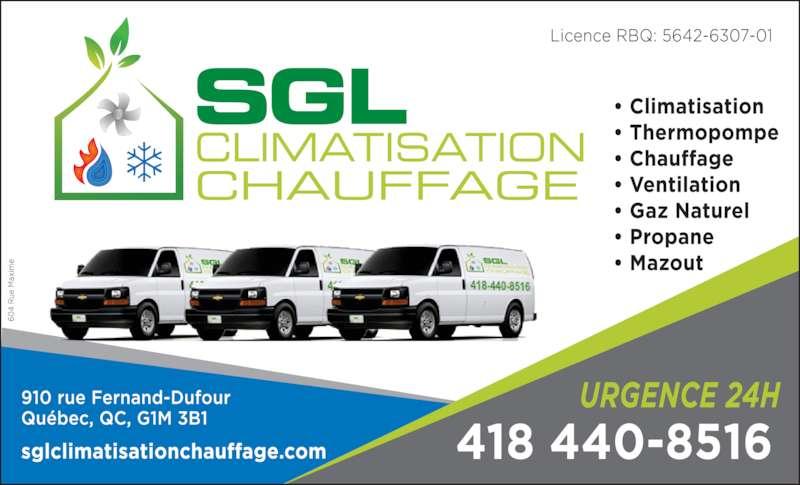 SGL Climatisation Chauffage Inc (418-440-8516) - Annonce illustrée======= -
