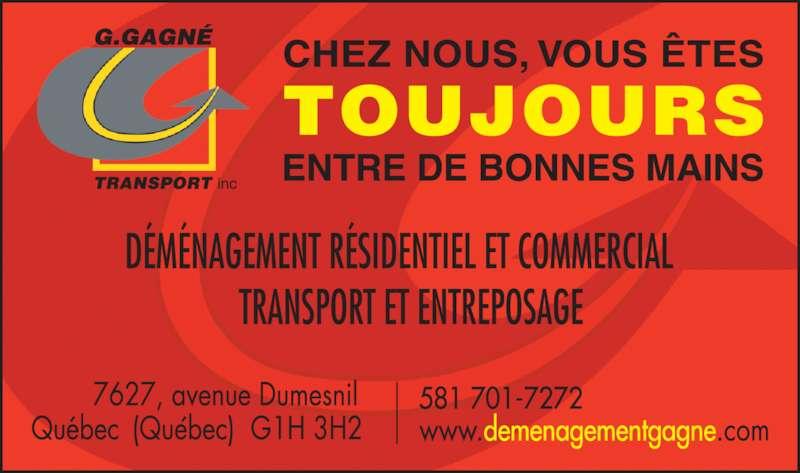 G Gagné Transport (418-621-0123) - Annonce illustrée======= -