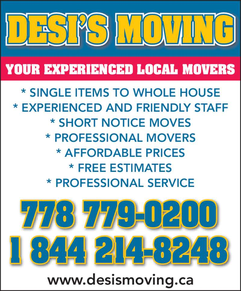 Desi 39 s moving abbotsford bc 2043 wilerose st canpages for 24 hour tanning salon near me
