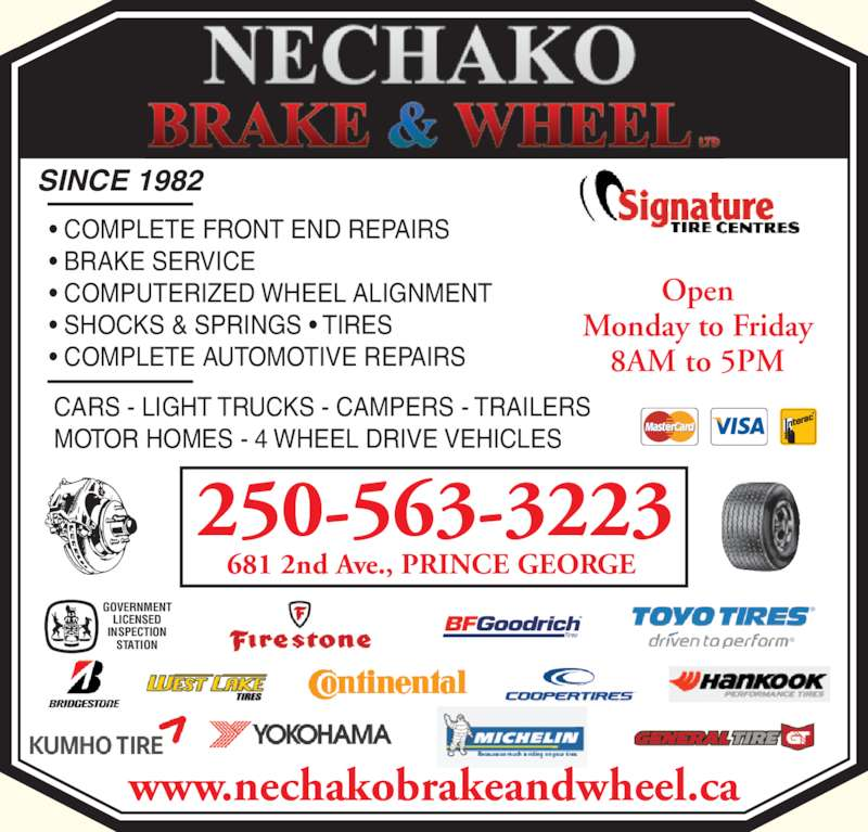 Wheel Alignment Car Tire Front End Alignment Firestone >> Nechako Brake & Wheel Ltd - Prince George, BC - 681 2nd Ave | Canpages