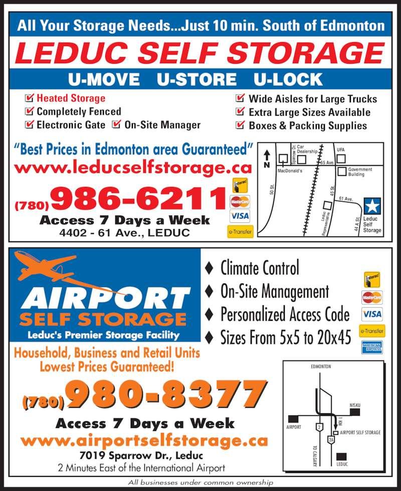 Leduc Self Storage Opening Hours 4402 61 Ave Leduc Ab