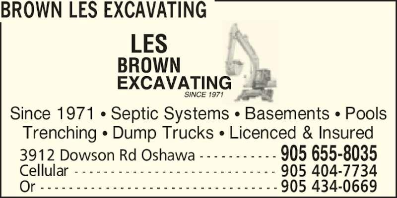 Brown Les Excavating 3912 Dowson Rd Oshawa On