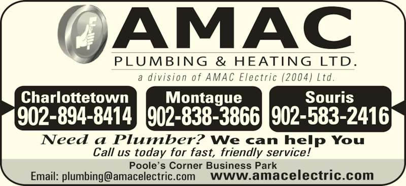 AMAC Plumbing & Heating Ltd (902-838-3866) - Display Ad - Poole?s Corner Business Park